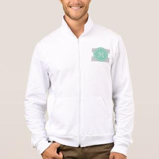 Gray White Stripes Pattern, Mint Green Monogram Jacket