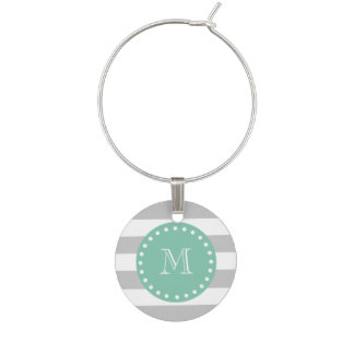 Gray White Stripes Pattern, Mint Green Monogram Wine Charm