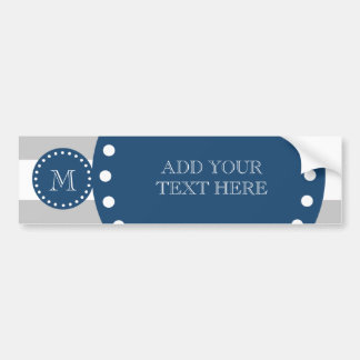 Gray White Stripes Pattern, Navy Blue Monogram Bumper Stickers