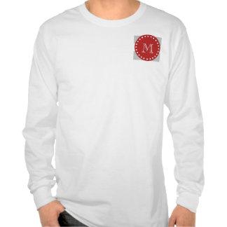 Gray White Stripes Pattern, Red Monogram Tees