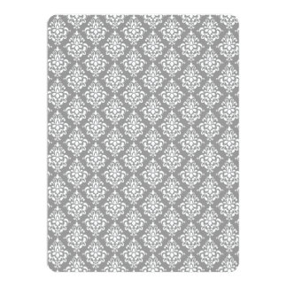 Gray White Vintage Damask Pattern 1 Announcements
