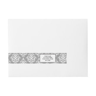 Gray White Vintage Damask Pattern 1 Wraparound Address Label