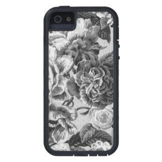Gray & White Vintage Floral Toile Fabric No.1 iPhone 5 Cases