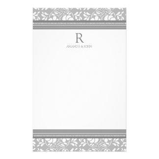 Gray White Wedding Monogram Stationery