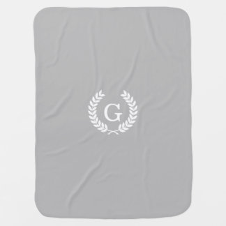 Gray White Wheat Laurel Wreath Initial Monogram Baby Blanket