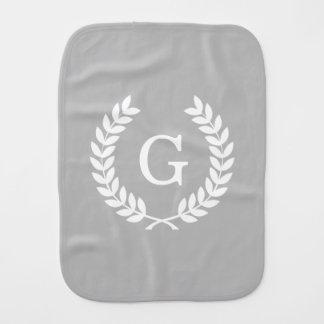 Gray White Wheat Laurel Wreath Initial Monogram Baby Burp Cloth