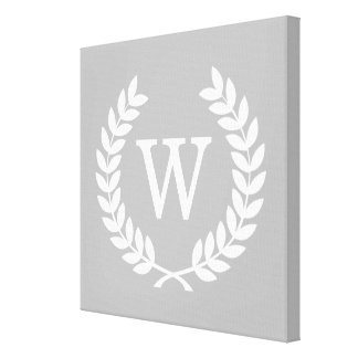 Gray White Wheat Laurel Wreath Initial Monogram Stretched Canvas Prints