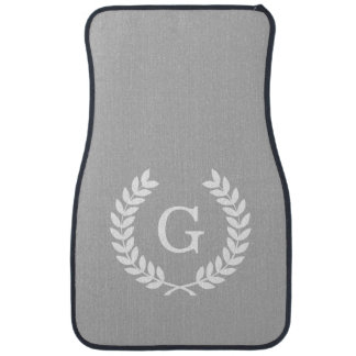 Gray White Wheat Laurel Wreath Initial Monogram Floor Mat