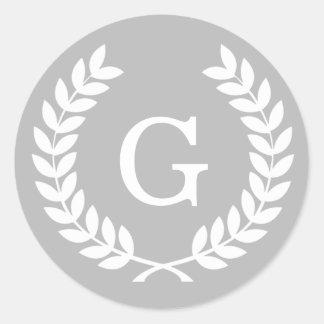 Gray White Wheat Laurel Wreath Initial Monogram Stickers