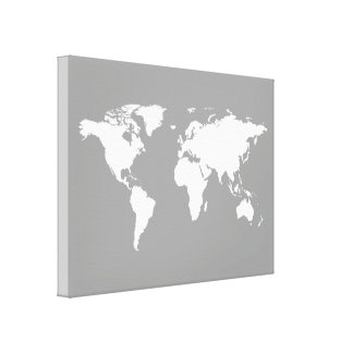 gray white world-map gallery wrap canvas