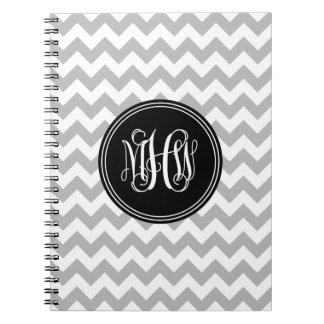 Gray Wht Chevron 7P, Black Vine Script Monogram Notebooks
