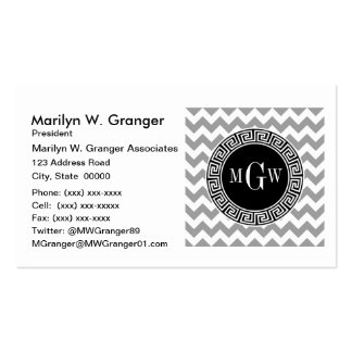 Gray Wht Chevron Black Greek Key 3 Monogram Pack Of Standard Business Cards