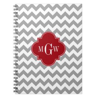 Gray Wht Chevron Cranberry Quatrefoil 3 Monogram Notebooks