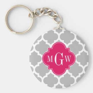 Gray Wht Moroccan #5 Raspberry 3 Initial Monogram Basic Round Button Key Ring