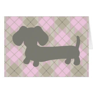 Gray Wiener Dog Dachshud pink plaid greeting card