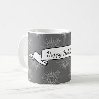 Gray Winter Holiday Reindeer Personalized Gift Coffee Mug