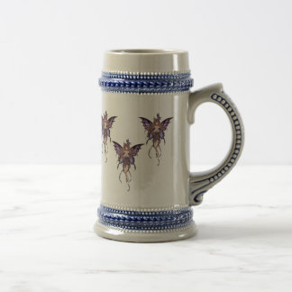 Gray with Blue Fairies Butterfly Stein