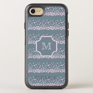 Gray with Delicate Pink Dots Pattern Monogram OtterBox Symmetry iPhone 8/7 Case