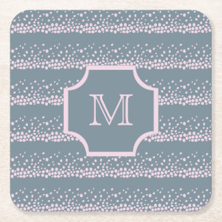 Gray with Delicate Pink Dots Pattern Monogram Square Paper Coaster