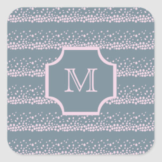 Gray with Delicate Pink Dots Pattern Monogram Square Sticker