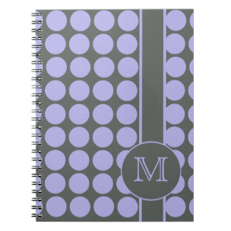 Gray with Lavender Polka Dots School Spiral Notebook