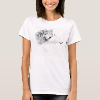 gray wolf and white wolf T-Shirt