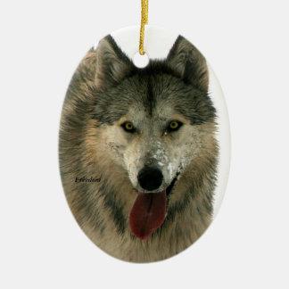 Gray Wolf Ceramic Tree Ornament