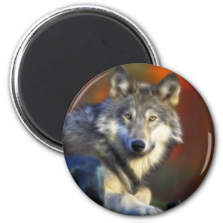 Gray Wolf, Endangered Species Digital Photography 6 Cm Round Magnet