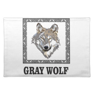 gray wolf framed placemat