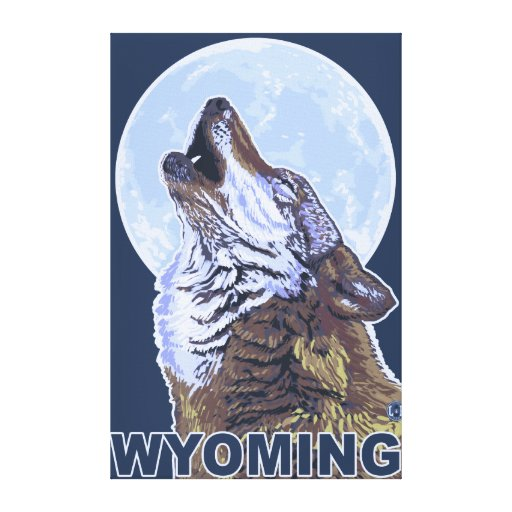 Gray Wolf HowlingWyoming Canvas Print