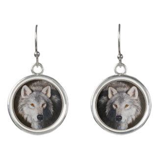 Gray Wolf Portrait Earrings