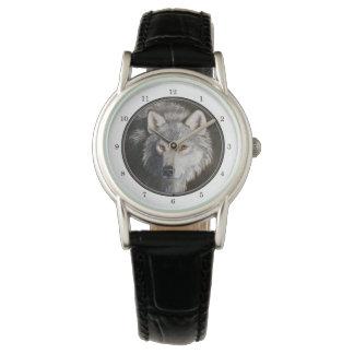 Gray Wolf Portrait Wrist Watches