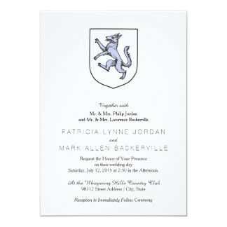 Gray Wolf Rampant on a White Shield Herald 13 Cm X 18 Cm Invitation Card