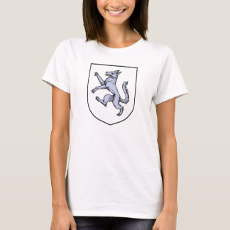 Gray Wolf Rampant on a White Shield Herald T-Shirt