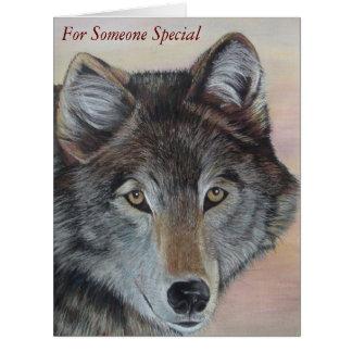 gray wolf wildlife painting realist portrait art card