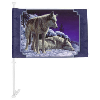 Gray Wolves in Snow Midnight Blue Car Flag