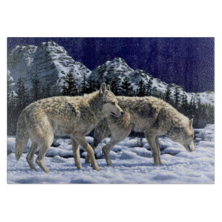 Gray Wolves in Snowy Winter Mountains Cutting Board