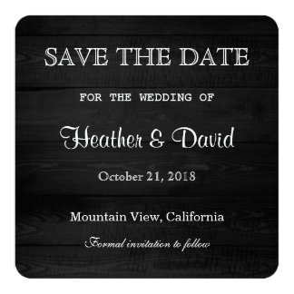 Gray Wood Design Save the Date Wedding Card