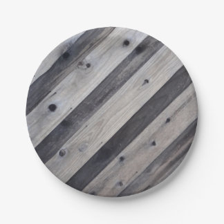 Gray Wood Fence Paper Plate 7 Inch Paper Plate