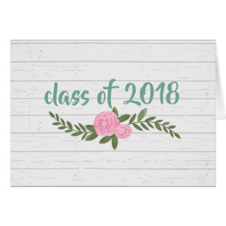 Gray Wood Floral 2018 Graduation Notecard