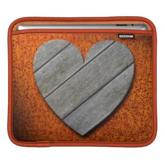 Gray Wooden Heart on Rusty Background iPad Sleeve