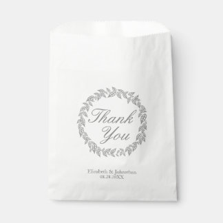 Gray Wreath Thank You Wedding Favor Bags Favour Bags