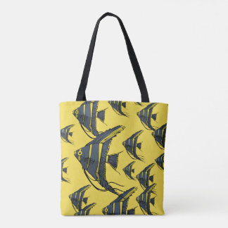 Gray & Yellow Angelfish Tote Bag