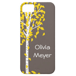 Gray Yellow Aspen Tree iPhone case