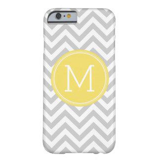 Gray Yellow Chevron Pattern Custom Monogram Barely There iPhone 6 Case