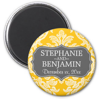 Gray & Yellow Damask Pattern Wedding Favor 6 Cm Round Magnet