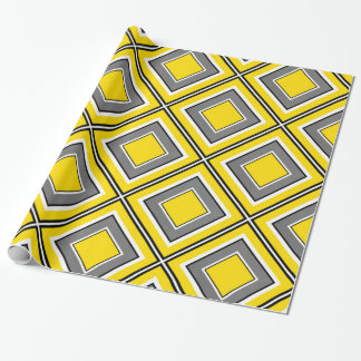 Gray Yellow Diamond Geometric Wrapping Paper