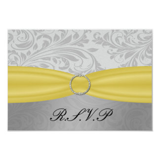 Gray Yellow  FAUX ribbon diamante buckle Wedding Card