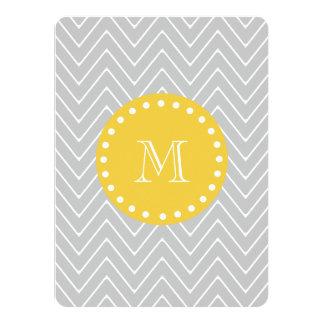 Gray & Yellow Modern Chevron Custom Monogram Invitations