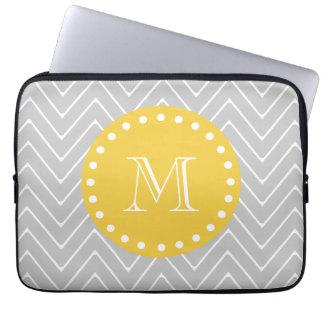 Gray & Yellow Modern Chevron Custom Monogram Laptop Sleeve